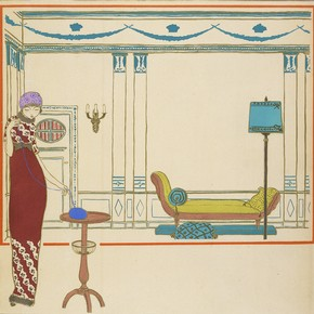 Hand-coloured pochoir stencil by Georges Lepape, from 'Les Choses de Paul Poiret', France, about 1911. Museum no. CIRC.262-1976. © Victoria & Albert Museum, London