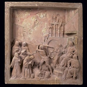 Terracotta pulpit relief depicting the Martydom of the Franciscan Friars, by Benedetto da Maiano, Italy, 1480-81. Museum no. 241-1889
