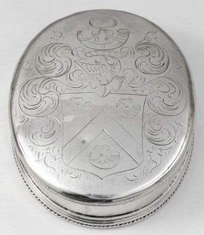 Oval tobacco box with a cabled wire applied to the rim and around the base. Bequested by Lt. Col. G. B. Croft Lyons.