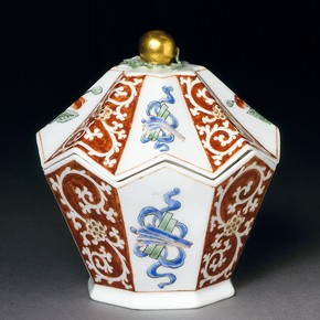 Sugar box of 'Kakiemon' design, made at the Chelsea porcelain factory, about 1752-55. Museum no. C.3&A-1966