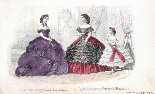 Fashion plate, from Englishwoman's Domestic Magazine, 1865.