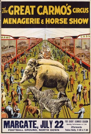 Carmo's Menagerie, Margate Football Ground, North Down, Margate, England, 22 July 1929
