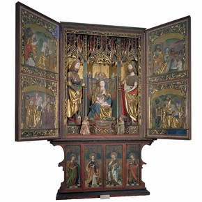 Carved, painted and gilded limewood and pine altarpiece, by Ruprecht Potsch and Philipp Diemer, Bressanone, Italy, 1500-10. Museum no. 192-1866
