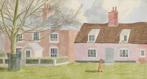 'A House and Cottage near the Quay at Orford' by Jack L Airy, 1940, Museum no. E.2107-1949