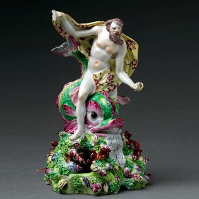 Figure of Neptune, made at the Bow porcelain factory, about 1760. Museum no. C.42-1944