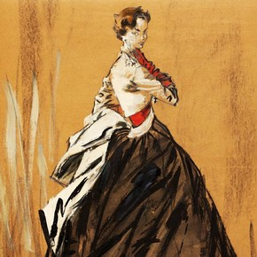1) Jean Demarchy, fashion illustration, Paris or London, about 1955. Museum no. E.685-1997