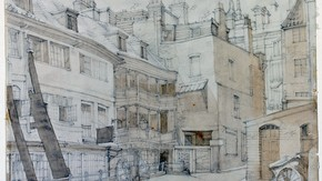Sketch of the George Inn, Southwark, by Phyllis Ginger, pencil and wash on paper, London, about 1940-60, given by Paul Durbin and Eleanor Durbin. Museum no. E.321-2007