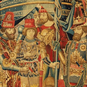 Detail showing Pyrrhus recieving Achilles' armour, from a tapestry with Scenes of the War of Troy, 1475-1490. Museum no.6-1887