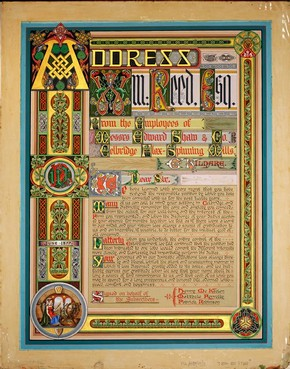 Illuminated address to William Reed, Co. Kildare, Ireland, June 1877. NAL reference no. MSL/1984/69/2, NAL pressmark: PC 1/5