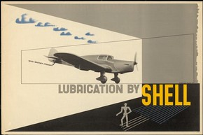 'Miles-Whitney Straight. Lubrication by Shell', poster, Edward McKnight Kauffer, 1937. Museum no. E.1067-2004