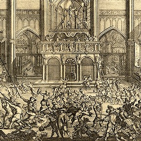 The destruction of a choir screen at Antwerp. Engraving by Gaspar Bouttats, 1640-95.  Bibliothque Royale, Brussels.