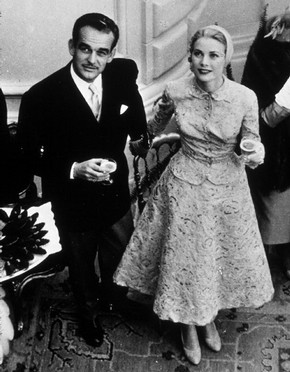Prince Rainier and Princess Grace after their civil marriage ceremony, Monaco, 18 April, 1956. © Rex Features