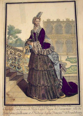 Figure 5 - Engraving, Charlotte Landgrave de Hesse Cassel Reyne de Dannemarc, Antoine Trouvain, published in Paris, late 17th or early 18th century. Museum no. E.835-1900