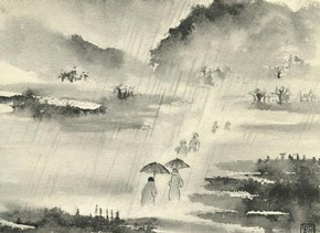 Figure 2 - 'Going to church in the rain, Wasdale Head', 1937, ink on paper, reproduced in 'The Silent Traveller: A Chinese Artist in Lakeland' (1937)