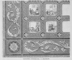 Figure 3 - Lancaster counterpane, J. Brayshaw, engraving from &#39;Needlework in the Crystal Palace&#39;, Illustrated Exhibitor, no. 21, 25 October 1851, p.391