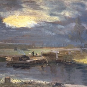 'Barges on the Stour with Dedham Church in the distance' by John Constable, about 1811, Museum no. 325-1888