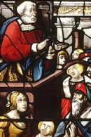 A Scene from the Life of Peter, stained glass panel, about 1525-30. Museum no. 2208-1855