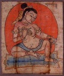 'Naropa', ink and gouache on paper, Tibet, 14th century. Found inside the seated Buddha, Museum no. IM.121-1910. Naropa received the Buddha's teachings in India in the 11th century and instructed the Tibetan Marpa