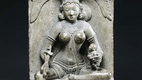 Detail of figures on base of Goddess Ambika, Orissa, eastern India, 12th century. Museum no. IS.61-1963
