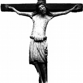 Figure 1. Crucifix on display before conservation and restoration. (Photography by V
