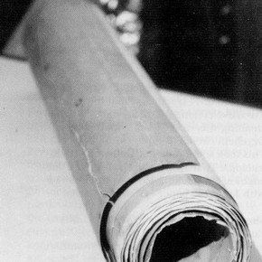 Fig.1. The rolled bundle of papers before treatment.