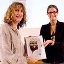 Jane Prentice receiving the award for 'Metalwork &amp; Jewellery' from Melissa Hamnet, Curator, Inspired By 2008
