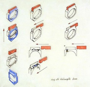Joël Degen, 1975-6. Designs for rings in metal with interchangeable stones, showing constructional detail. Museum no. CIRC.371-1976
