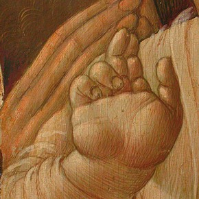 Figure 1. Detail of egg tempera flesh paint (766-1865). (Photography by Rachel Turnbull).