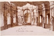 Sir James Thornhill, Set design for Arsinoe - Act 1 Scene 3, Early 18th century. Museum no. D.28-1891