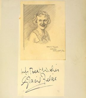 Cariacture of Gracie Fields by Gilbert Sommerlad, 23 April 1936. Museum no. S.131:41-2002, © Victoria and Albert Museum, London