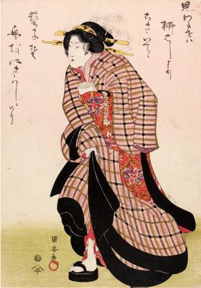 Woodblock print, 'Geisha in a Hurry', Utagawa Kuniyasu, Japan, about 1816-1818. Museum no. E.10458-1886, © Victoria and Albert Museum, London