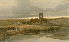Thomas Girtin (1775-1802), Kirkstall Abbey, Yorkshire - Evening, around 1801, watercolour on paper. Museum no. 405-1888, © Victoria and Albert Museum, London