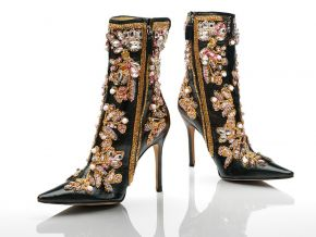 Ankle boots, black leather stiletto heels with gold, white and pink embroidery, designed by Dolce & Gabbana, Spring/Summer 2001. Photo © Victoria and Albert Museum, London.
