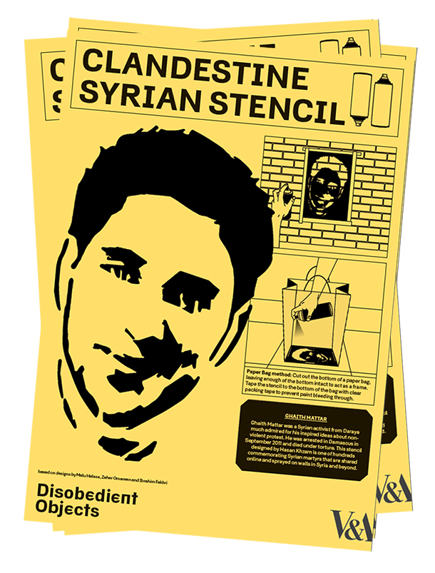 How to Guide: Clandestine Syrian Stencil. Illustration by Marwan Kaabour, Barnbrook