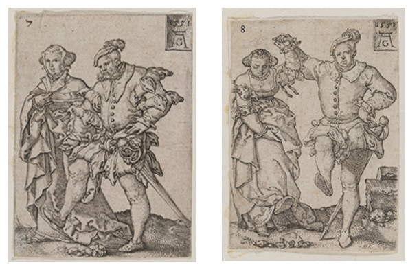 Figure 18 c-d. Two plates from the series 'Small Wedding-Dancers' (1551)