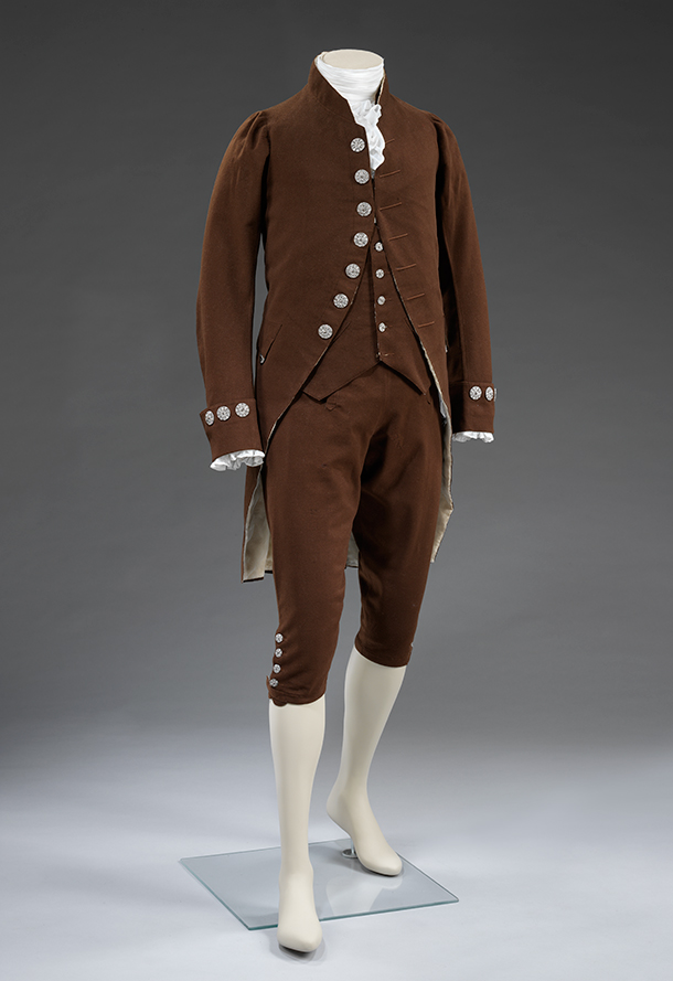 Suit, about 1780, France, wool; buttons: England (possibly Birmingham or Wolverhampton); cut steel. Museum no. T.10-2010, © Victoria and Albert Museum, London