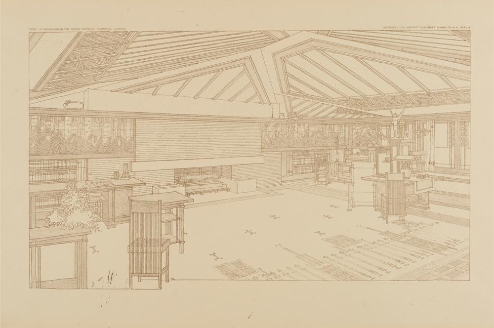 Perspective Showing Living Room In The Avery Ley House Oak Park Illinois By Frank Lloyd Wright 1907 8 From Ausgeführte Bauten Und Entwürfe Von