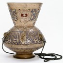 Mosque lamp, gilt and enamelled glass, Egypt or Syria, 1340. Museum no. 1056-1869
