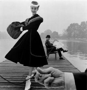 John French, Skater wears a Digby Morton fur trimmed velvet coat, city gentleman, Michael Bentley in the background, London. Daily Express, 1955, © Victoria and Albert Museum, London