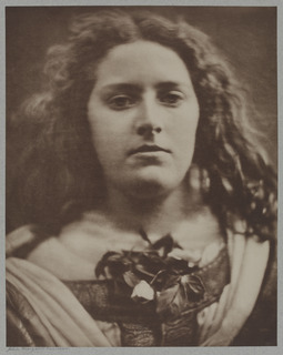 Image of a woman with leaves or flowers tucked in her bodice