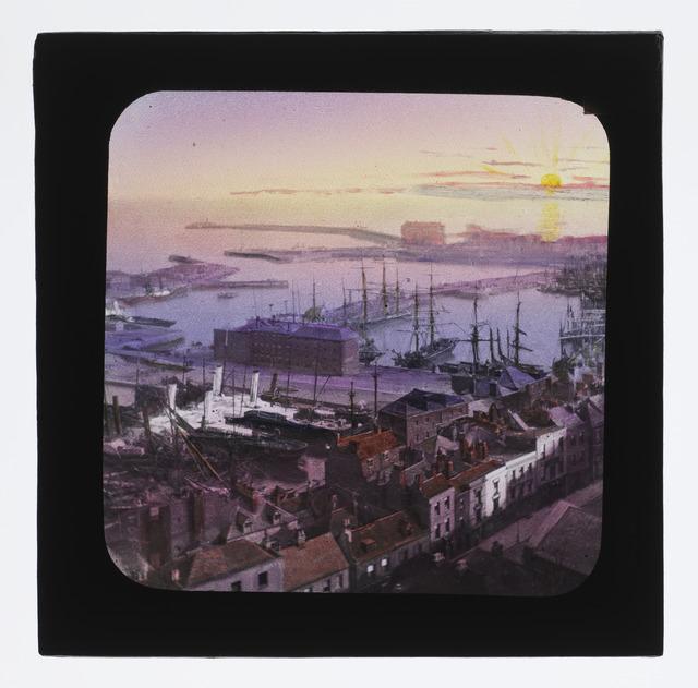 Coloured lantern slide of Dover Harbour