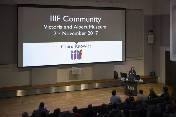 Image of lecture theatre showing IIIF Community talk given by Claire Knowles
