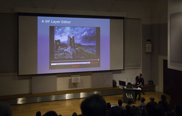 Image of Lecture Theatre shopwing presentation of IIIF Layer Editor for talk by Luca Carini and Richard Palmer