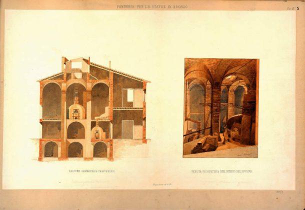 F. Mazzei, Regia Fonderia dei bronzi, watercolor on matter paper, 1856 (ASGFi, Fondo Disegni, car. 381/3).