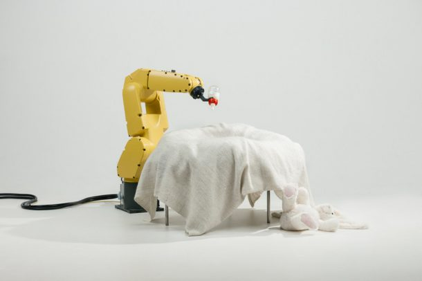 A robot arm performing a task.