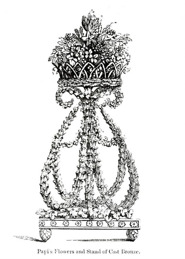 C. Papi, Tripod with flower basket (Engraving from: Official catalogue of the Great Exhibition, London 1851, p. 1300, n. 116).
