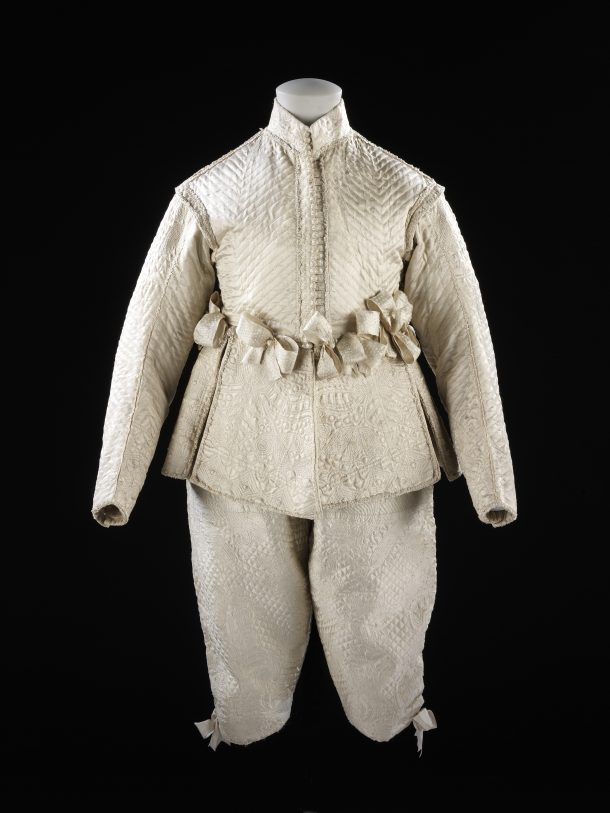 A quilted satin suit