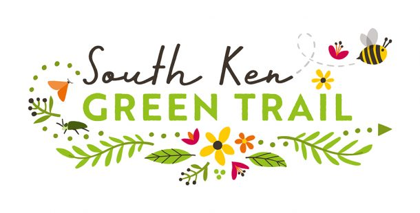 """Illustration reading """"South Ken Green Trail' with flowers and a cartoon bee"""