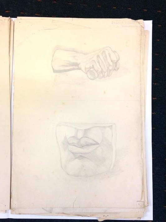 Student Drawing from the casts of David's features (Gwen Welch 1933-37). NAS Archives.