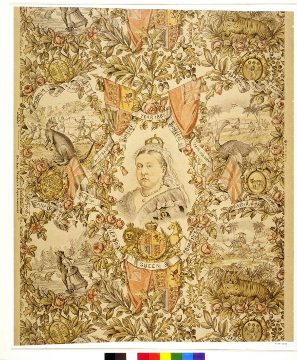 Queen Victoria's Golden Jubilee, sanitary wallpaper, F. Scott & Son, 1887